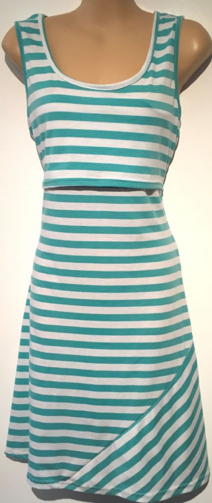 GREEN STRIPED NURSING JERSEY SLEEVELESS DRESS SIZE M 12